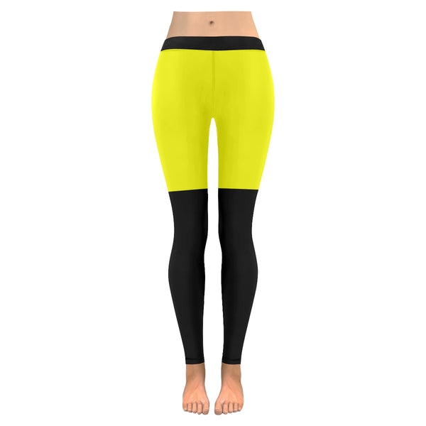Yellow and black low rise leggings