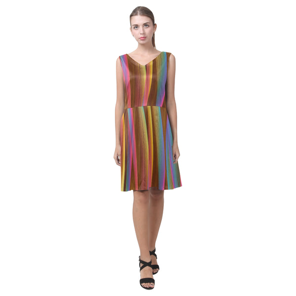 Multi-color brown blue yellow sleeveless pleated dress