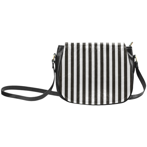 Black and White Striped Saddle Bag