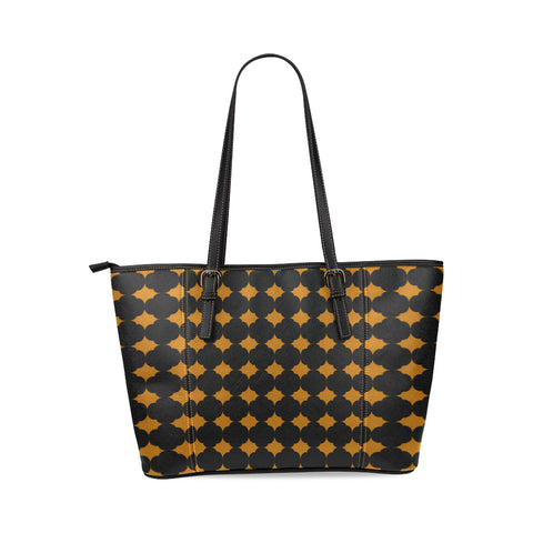 Orange and black leather tote bag