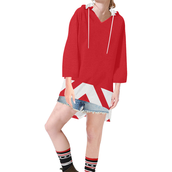 Red chevron v-neck tunic hoodie