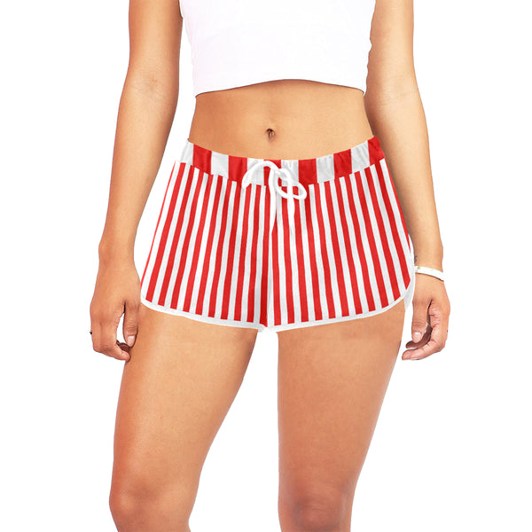 Red striped casual shorts