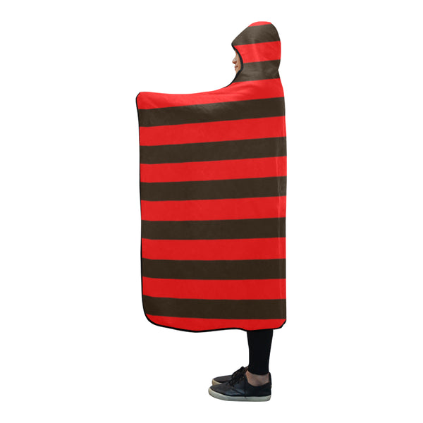 "Black and red hooded blanket 80""x56"""