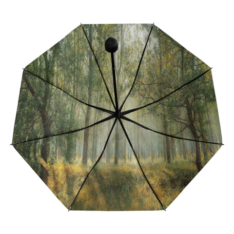 Wood Anti UV foldable umbrella