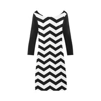 Black and white chevron boat neck a-line dress