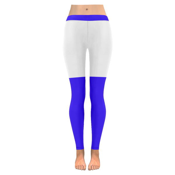 Blue and white low rise leggings