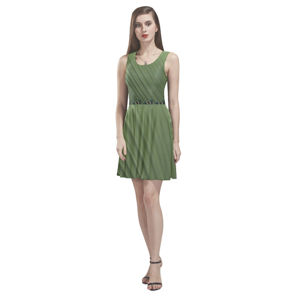 Green sleeveless skater dress