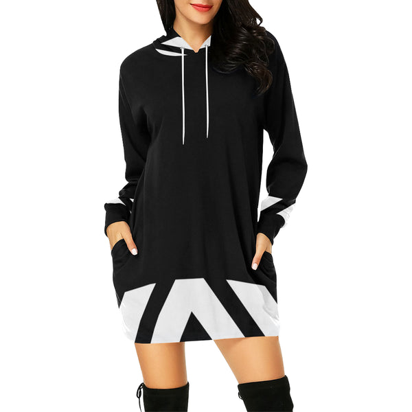 Black white chevron hoodie mini dress