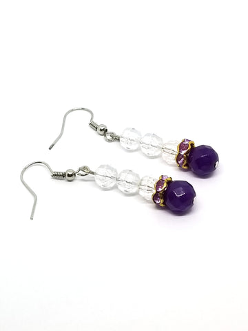 Crystal earrings with purple amethyst round beads