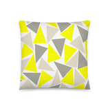 Gray and yellow triangle design basic pillow