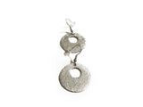 Silver hammered dangle earrings- handmade