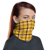 Yellow and black plaid face mask neck gaiter