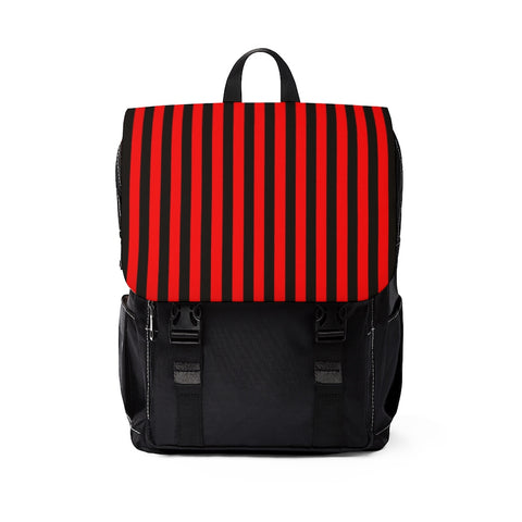 Red and Black Striped Shoulder Backpack Purse