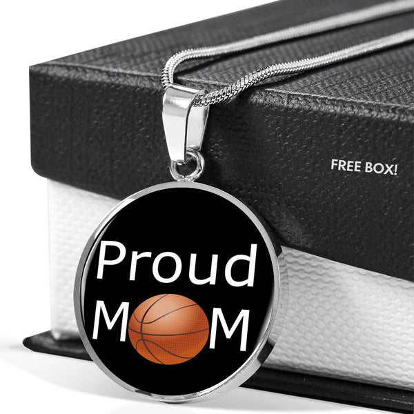 Proud basketball mom necklace, gifts for basketball mom, basketball lovers, silver necklace, gold necklace