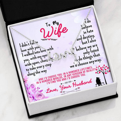 To my wife love necklace with message card