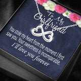 Girlfriend infinity necklace with message card