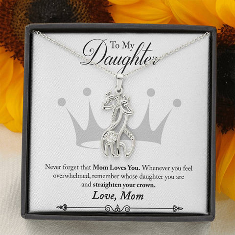 giraffe necklace with message card