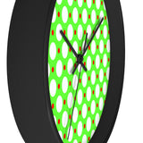 Green and white polks dot wall clock