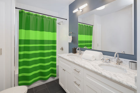 Green Stripe Shower Curtains 71x74 inches