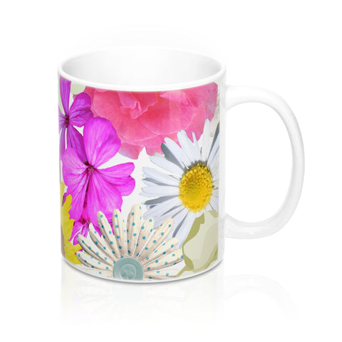 Floral coffee and tea mug ceramic 11oz