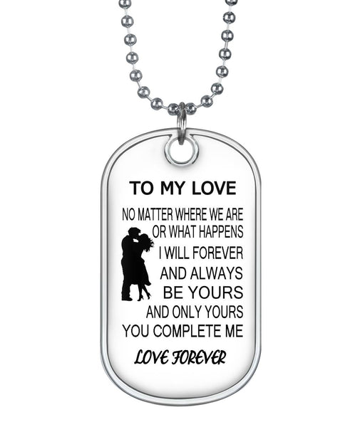 To my love dog tag necklace, gifts for couples