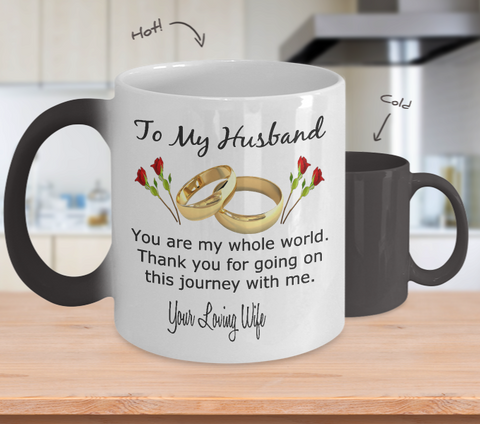 To my husband color changing coffee mug