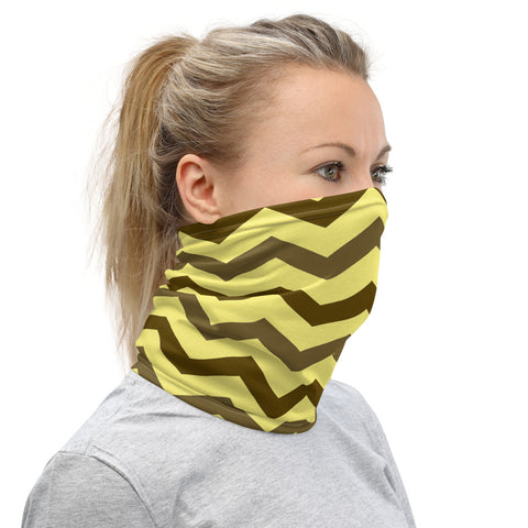 Brown and yellow chevron neck gaiter