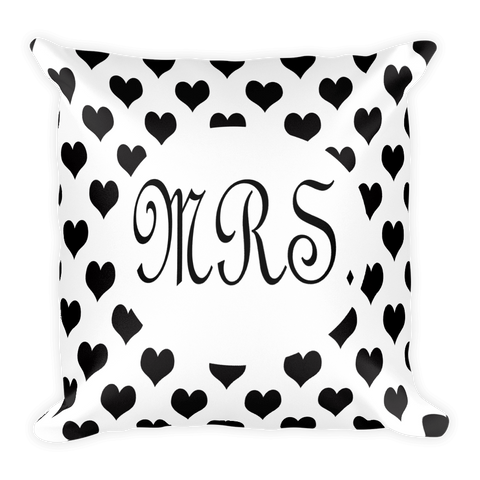 Mrs black and white heart throw pillow for the bride