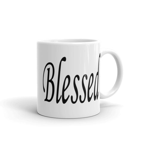 Blessed white ceramic coffee mug 11 oz and 15 oz