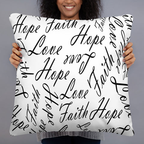 Love faith hope throw pillow