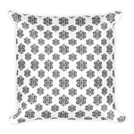 Black and white accent damask square throw pillow