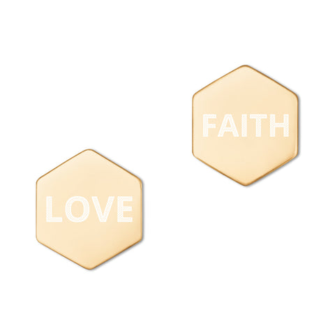 Love Faith Hexagon Stud Earrings (Available in 18K Rose Gold & 24K Gold)