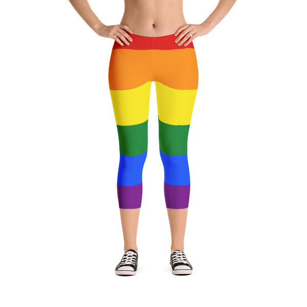 LGBTQ pride rainbow capri leggings