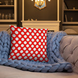 Red and white polka dot 18x18 and 20x12 basic throw pillow