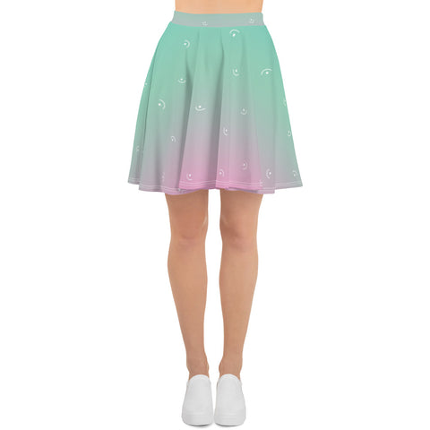 Multi-color blue aqua skater skirt