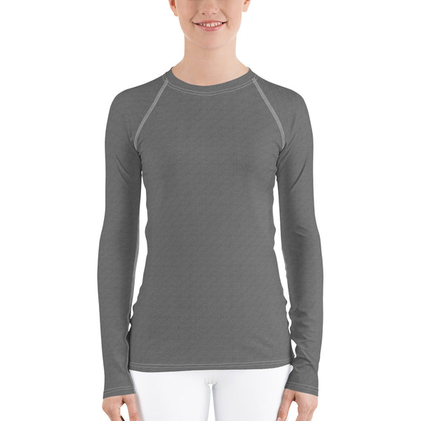 Gray damask women's rash guard long sleeve shirt