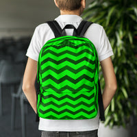Green and black chevron backpack