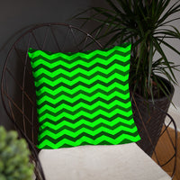 Green chevron pattern polyester pillow case and insert throw pillows