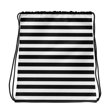 Black and white stripe drawstring bag