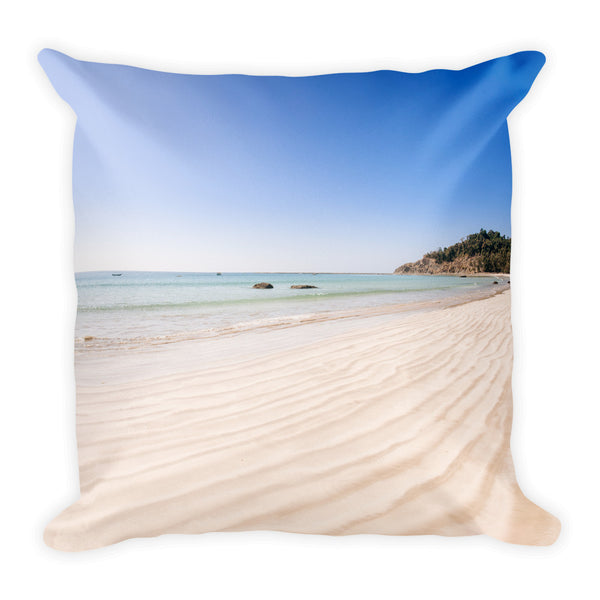 Sand and beach square 18x18 inch pillow