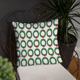 Green wreath christmas accent throw pillow