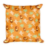 Pumpkins and ghosts throw pillow