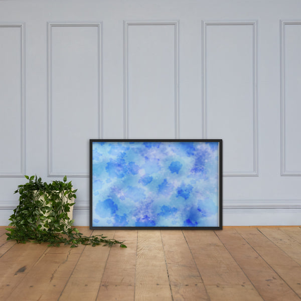 Framed abstract blue and purple watercolor wall art