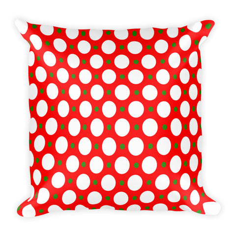 Red and green polka dot 18x18 inch square decorative throw pillow