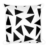Black and white triangle 18x18 inch accent square throw pillow