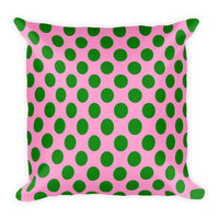 Pink and green 18x18 inch square accent throw pillows