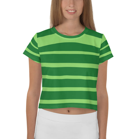Green Striped Crop Tee