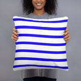 Striped blue and white accent throw pillow