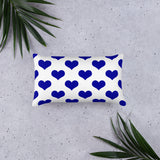 Blue hearts pillow
