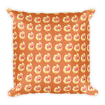 Orange with yellow roses 18x18 inch square accent throw pillow